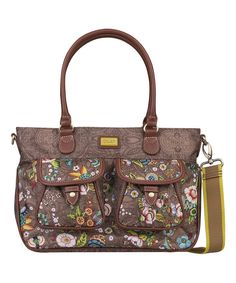 Look at this Tobacco French Flowers Medium Convertible Tote on #zulily today!