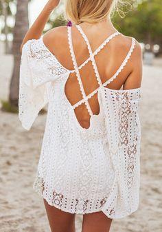 Crisscross Cold Shoulder Lace Tunic