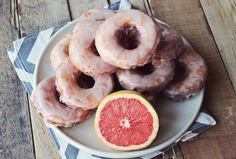 "I know what you're thinking, ""Grapefruit donuts?"" Ok but hear me out: donuts are an awesome. Best Breakfast, Breakfast Recipes, Dessert Recipes, Breakfast Ideas, Grapefruit Recipes, Grapefruit Curd, Outdoor Grill, Donut Recipes, Cheap Meals"