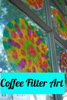 Super easy Friday art project... All you need is coffee filter markers and water. Just let the kids color them how ever they like then spritz with water and hang to dry :) .
