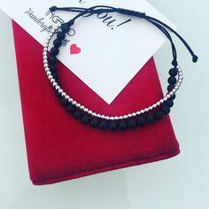 Layer bracelet, with black onix and silver beads #ingriko #handmade #onix #bracelet