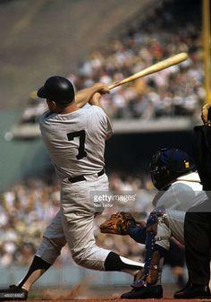 New York Yankees Mickey Mantle in action, at bat vs Los Angeles. My Yankees, New York Yankees Baseball, Baseball Socks, Baseball Stuff, 1963 World Series, Baseball Photos, Baseball Cards, The Mick, Willie Mays