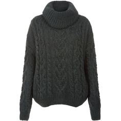 Khaki Premium Cable Knit Roll Neck Jumper (£17) ❤ liked on Polyvore featuring tops, sweaters, jumpers, knitted, khaki, roll neck sweater, cable knit jumper, cable-knit sweater, destroyed sweater and khaki sweater