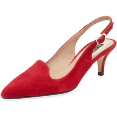 Ava & Aiden Women's Slingback Kitten Heel - Red - Size 35 ($50) ❤ liked on Polyvore featuring shoes, heels, red, kitten heel slingbacks, platform shoes, kitten heel shoes, slingback platform shoes and sling back shoes