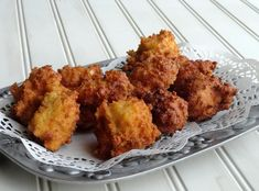 """Pinner: """"Living on the coast of North Carolina, we love Calabash style seafood and hush puppies. I serve these hush puppies hot with homemade honey butter. Hush Puppies Rezept, Kfc, Seafood Recipes, Cooking Recipes, Seafood Boil, Scones, Iron Chef, Recipe Key, Snacks"""