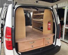 VanEquip I Load False Electricions fitout, False Floor with Drawers and a Sparky rack on the right a 5 Shelf on the left Diy Van Storage Ideas, Van Shelving, Van Racking, Secure Storage, Modular Design, Van Life, Drawers, Flooring, Carpentry