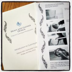 Booklets ready for cyanotype course at Gibson Mill / Moira Fuller