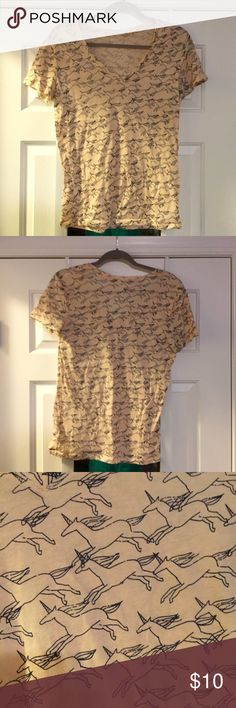 BDG Unicorn V-Neck BDG vneck from urban outfitters. Classic vneck cut with unicorn patterns all over. Beige color. Urban Outfitters Tops Tees - Short Sleeve