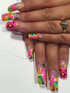 nice Day Abstract Neon Nail Art - - NAILS Magazine Read More by nailsmagazine. Neon Nail Art, Neon Nails, Dope Nails, Art Nails, Gradient Nails, Neon Nail Designs, Acrylic Nail Designs, Nail Candy, Square Acrylic Nails