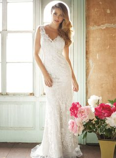 Wedding Dresses - $185.00 - Trumpet/Mermaid V-neck Sweep Train Lace Wedding Dress With Beading Appliques Lace (0025093711)