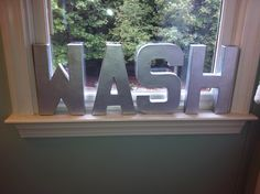 Chrome letters for bathroom or laundry room!