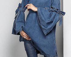 Bohemian Blue Jean Blouse. Women's Clothing. Tunic. Blue Jean Tunic. Women's Dresses. Women's Tees And Tops. Boho Blouses.Boho Dress