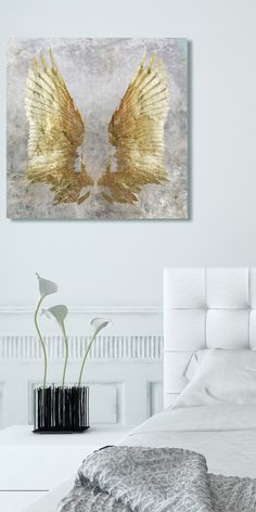 Gold wings canvas wall art