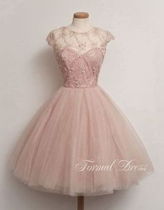 Cute Light Pink Round Neckline  Short Prom Dresses, Homecoming Dress