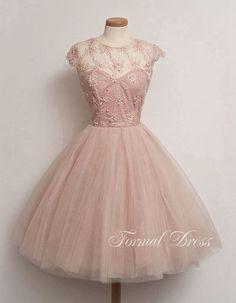 Cute Light Pink Round Neckline  Short Prom Dresses, Homecoming Dress