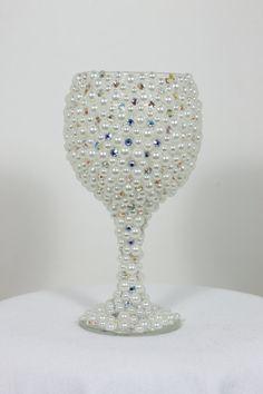 Custom Made Wine Glass Bride Wine Glass Wedding Glasses by Arzus, $56.00