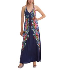 Medieval Blue Geometric Sofia Maxi Dress - Women