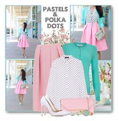 """Pastels & Polka Dots"" by brendariley-1 ❤ liked on Polyvore featuring Lux-Art Silks, John Lewis, TIBI, Theory, Salvatore Ferragamo, Gianvito Rossi, Michael Kors and Carolee"