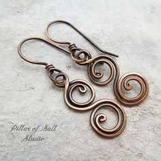 Small Double Spiral solid copper earrings #HandmadeJewelry
