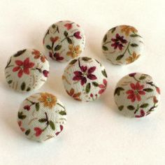 Fabric Buttons Autumn Flowers 6 Small Fall by PatchworkMill, $3.50