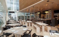 Up on the third floor of the Momofuku complex is Daishō, an space devoted to large family-style meals. Ample natural light spills into the airy Modern Restaurant, Restaurant Design, Restaurant Bar, Coffee Shop Interior Design, Pub Interior, Noodle Bar, Momofuku, Three Floor, Modern Architecture