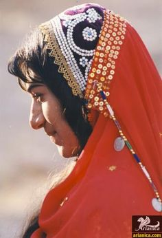 Bakhtiari woman with traditional scarf.