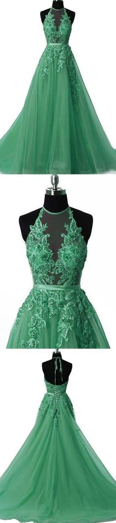 Unique tulle lace applique green long prom dress, green tulle evening dress