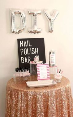"""out this gorgeous DIY Nail Polish Bar! How to make a """"DIY Nail Polish Bar""""! Perfect for a bridal shower, bachelorette party or any girly party!How to make a """"DIY Nail Polish Bar""""! Perfect for a bridal shower, bachelorette party or any girly party! Sleepover Birthday Parties, Fun Sleepover Ideas, Girl Sleepover, Birthday Party For Teens, Bachelorette Parties, 10th Birthday, Sleepover Party Favors, 12th Birthday Party Ideas, Sleep Over Party Ideas"""