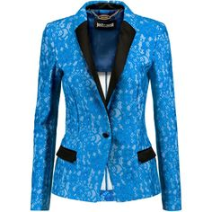 Just Cavalli Satin-trimmed lace blazer ($370) ❤ liked on Polyvore featuring outerwear, jackets, blazers, blazer, bright blue, bright blue blazer, sky blue blazer, slim fit jackets, lace jacket and embellished blazer
