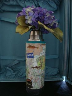 Upcycled Decopaged Vintage Thermos by chippypickets on Etsy, $16.00