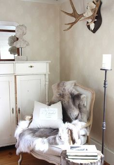 Scandinavian fur throws (could achieve same look with faux fur)