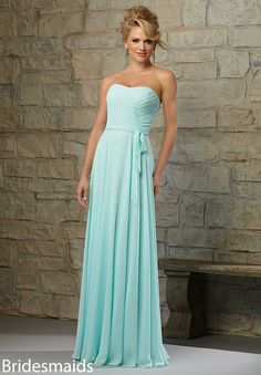 Bridesmaids Dresses Chiffon Matching Tie Sash. Available in All Mori lee Bridesmaids Chiffon Colors in 4 colors