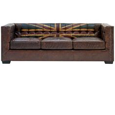 Andrew Martin Armstrong Union Jack Sofa ($4,285) ❤ liked on Polyvore featuring home, furniture, sofas, chairs, london, brown, button couch, brown sofa, studded furniture and brown couch