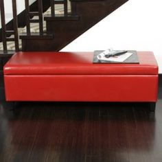 Red Leather Storage Bench