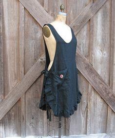 linen jumper pinafore apron dress tunic smock in black. $139.00, via Etsy.