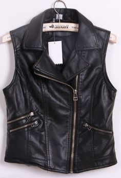 Black Notch Lapel Biker Vest