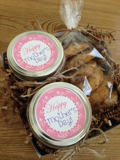 Say Happy Mother's Day with two yummy cake in a jars and a half dozen chocolate chip cookies #mothersday #cakeinajar #chocolatechipcookies