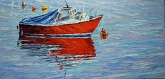 """""""Cruise Line""""  12"""" x 24""""  Original Impressionist Oil Painting, Palette Knife by Jeanette Jobson Available through Five Island Art Gallery, Tors Cove, NL"""