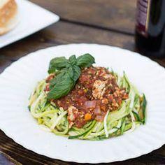Zucchini Pasta with Veggie Sauce- a plate full of veggies.