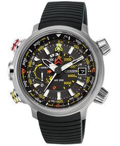 Citizen Men's Chronograph Eco-Drive Promaster Altichron Black Rubber Strap Watch 50mm BN5030-06E   macys.com