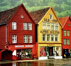 """Bryggen Norway: Bryggen (Norwegian, """"The Wharf""""), also known as Tyskebryggen (""""the German Wharf"""") is a series of Hanseatic commercial buildings lining the eastern side of the fjord coming into Bergen, Norway. Bryggen is on the UNESCO list for World Cultural Heritage sites."""