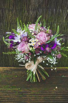 Relaxed Rustic Stylish Wedding Wild Purple Bouquet Bridal http://www.bloomweddings.co.uk/ Purple Flower Bouquet, Iris Wedding Bouquet, Lavender Bouquet, Iris Bouquet, Natural Bouquet, Spring Wedding Bouquets, Bridal Bouquets, Gypsophila Wedding, Purple Bouquets
