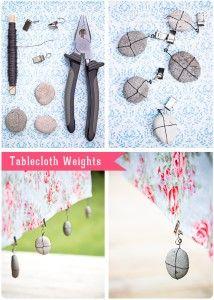DIY tablecloth weights