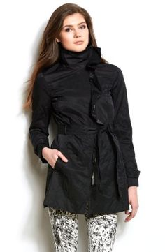 Armani Exchange Womens Ruffle Coat