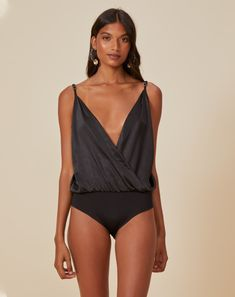 BODY TRADICIONAL TRANSPASSADO CETIM | AMARO Moda Online, Ideias Fashion, Bodysuit, One Piece, Swimwear, Women, Products, Neckline, Women's Feminine Clothes