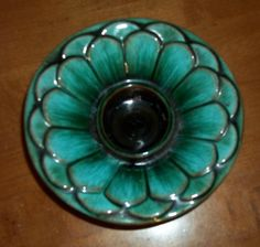 1 of 3: Blue Mountain Pottery Flower Candle Holder