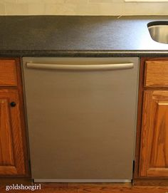 Gold Shoe Girl: How to Use Stainless Steel Appliance Paint Maybe paint my dishwasher to match my other appliances. Diy Kitchen Decor, Kitchen On A Budget, Kitchen Paint, Kitchen Redo, Kitchen Remodel, Kitchen Ideas, Nice Kitchen, Kitchen Makeovers, Kitchen Colors