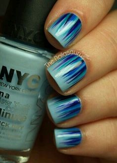 Blue and purple nail art