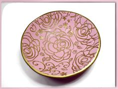 Blush Pink Ring Dish polymer clay Bowl Jewelry by BeadazzleMe