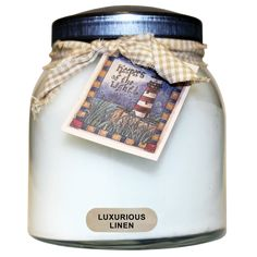 Luxurious Linen Scented Keeper's of the Light Jar Candle, Papa 34 oz, 2 Wicks. Elegance in a jar, this fragrant blend is truly luxurious. Warm linen fragrance of orange blossoms, jasmine, cyclamen, herbal tea and smooth cedarwood. Super-scented from beginning to end of the jar. Jar trimmed with tag and homespun ribbon. #SimplyAbundant #Candle #CheerfulGiver #Keepersofthelight